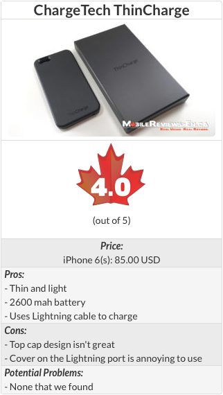 ChargeTech ThinCharge Case Review - Review Table 320px - iPhone 6s cases